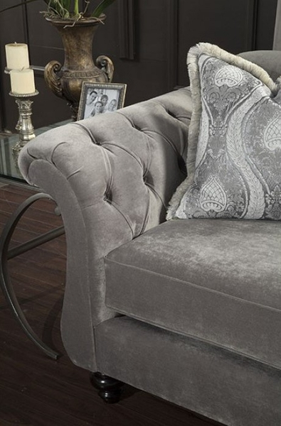 Antoinette Dolphin Gray Loveseat by Furniture of America