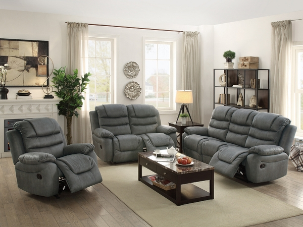 Arianna Slate Gray Leatherette Manual Recliner Loveseat by Poundex