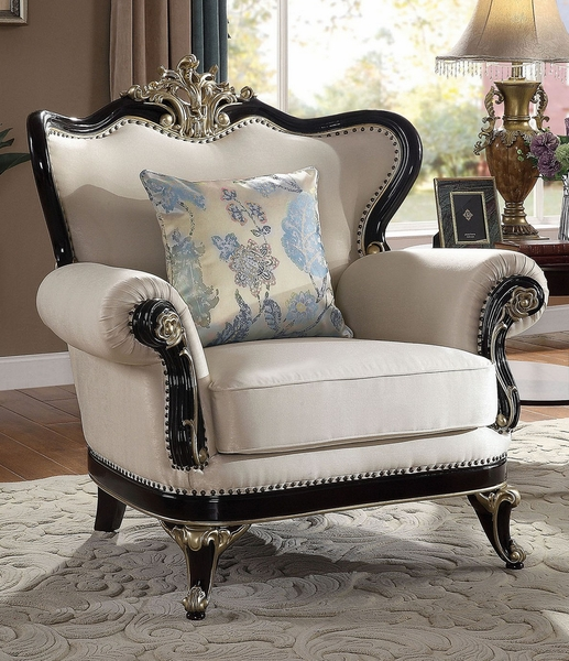 Brimagam Beige Fabric Chair with Pillows by Furniture of America
