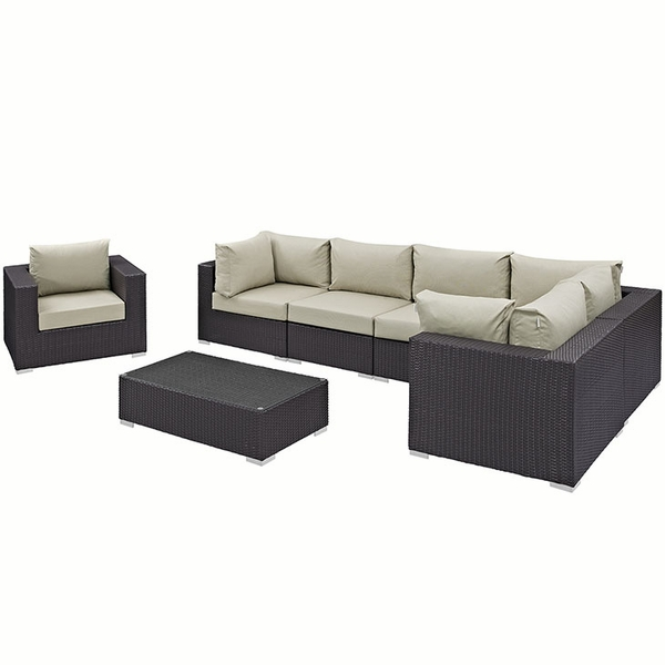 Convene 7-Pc Beige/Espresso Outdoor Patio Sectional Set by Modway