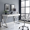 Adjacent White Wood Desk with Steel Base by Modway
