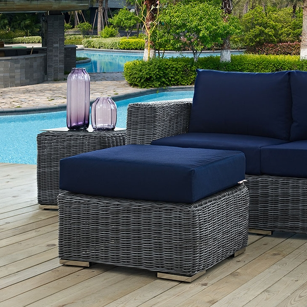 Summon Grey Rattan Ottoman with Navy Fabric Cushion by Modway