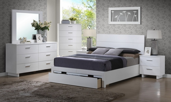 Annett White Wood King Bed with Storage by Poundex