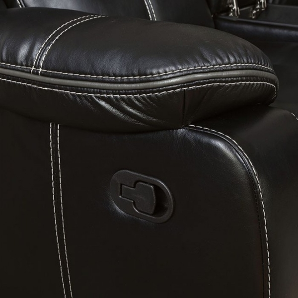 Pollux Black Manual Recliner Loveseat by Furniture of America