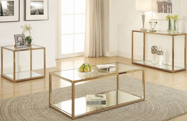 Calantha Chocolate Chrome Coffee Table with Glass Top by Coaster