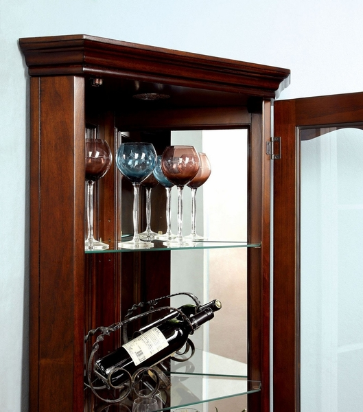 Ortley Walnut Curio with Framed Glass Door by Furniture of America