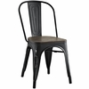 Promenade Black Laminated Bamboo/Steel Side Chair by Modway