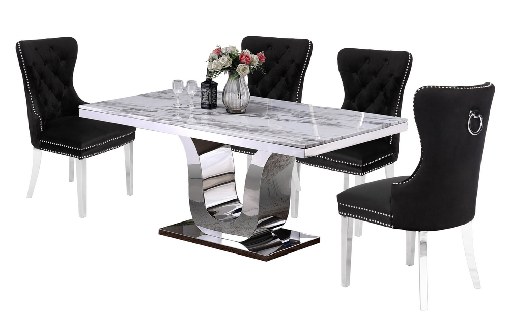 Elyse 5 Pc White Black Dining Table Set By Best Quality Furniture