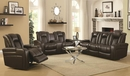 Delangelo Brown Leatherette 2xPower Recliner Loveseat by Coaster