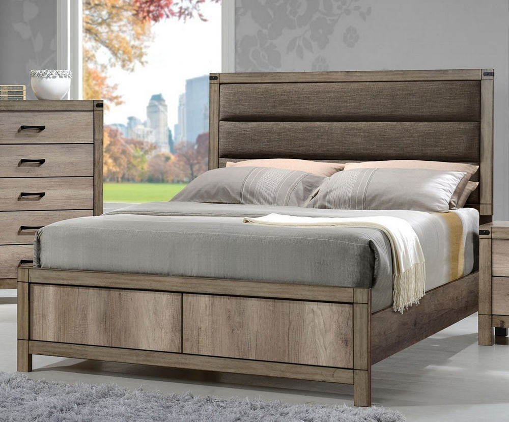 Matteo Light Grey Wood King Bed W Upholstered Headboard By Crown Mark