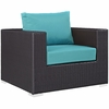 Convene 8-Pcs Espresso/Turquoise Outdoor Patio Sectional Set by Modway