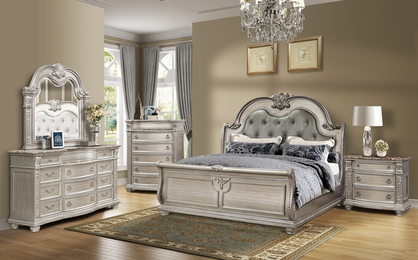 Amber Platinum Cal King Bed (Oversized) by McFerran Home Furnishings