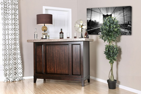Bismarck Espresso Marble/Wood Bar Table by Furniture of America