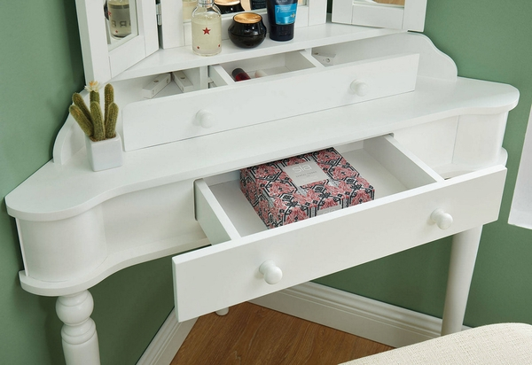 Kasey White Wood Vanity with Mirror & Stool by Furniture of America