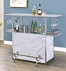 Rianna White Faux Marble/Chrome Bar Table by Furniture of America