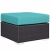 Convene Espresso/Turquoise Outdoor Patio Ottoman by Modway