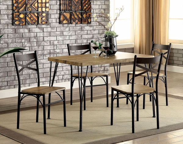 Banbury 5-Pc Gray/Dark Bronze Dining Table Set by Furniture of America
