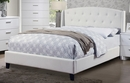 Billie White Bonded Leather Upholstered Cal King Bed by Poundex