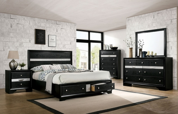 Chrissy Black Wood Queen Bed with Storage by Furniture of America