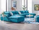 Commix Teal Fabric Sectional Sofa with 2 Ottomans by Modway