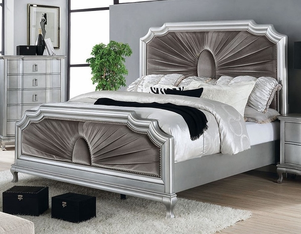 Aalok Silver Wood Queen Bed with Velvet Insert by Furniture of America