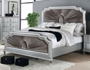 Aalok Silver Wood Cal King Bed w/Velvet Insert by Furniture of America
