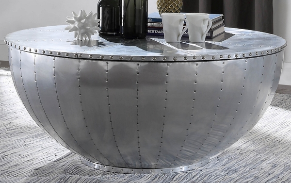 Brancaster Aluminum Round Coffee Table with Storage Lid by Acme