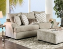 Anthea Beige Woven Fabric 2-Seat Sofa by Furniture of America