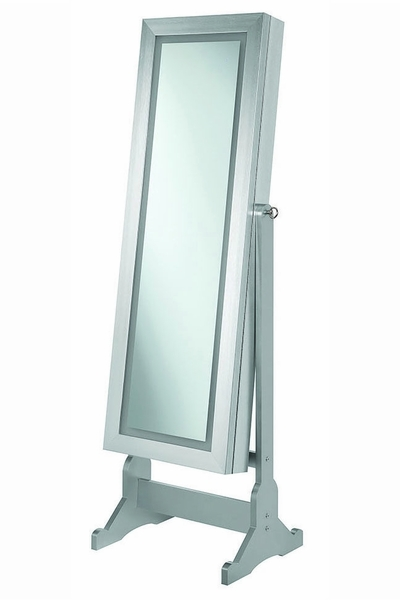 Taliyah Silver Wood Jewelry Cheval Mirror with LED by Coaster