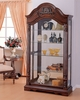 Denton Cherry Wood/Glass Curio Cabinet with Back Mirror by Acme
