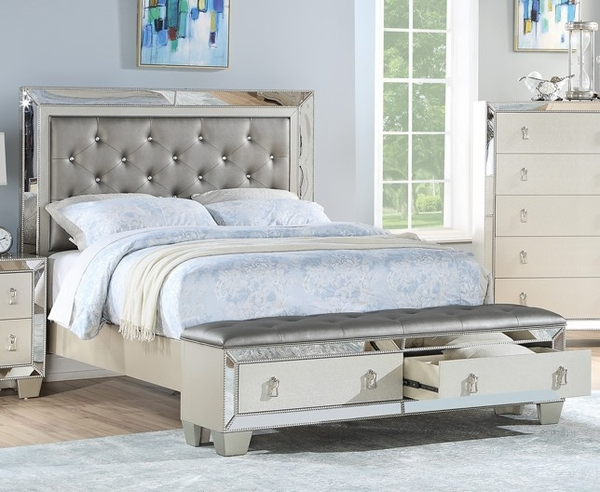 Bahar Silver Wood King Bed with-Drawers & Mirrored Panels by Poundex