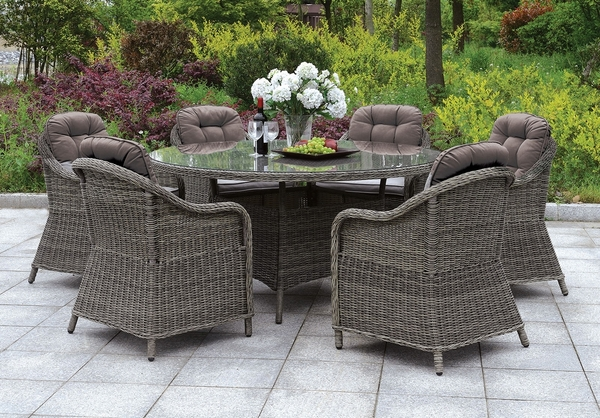 Canistota 2 Gray Fabric/Wicker Arm Chairs by Furniture of America