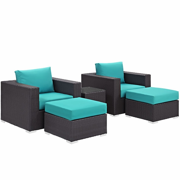 Convene 5-Pc Espresso/Turquoise Patio Sectional Set by Modway