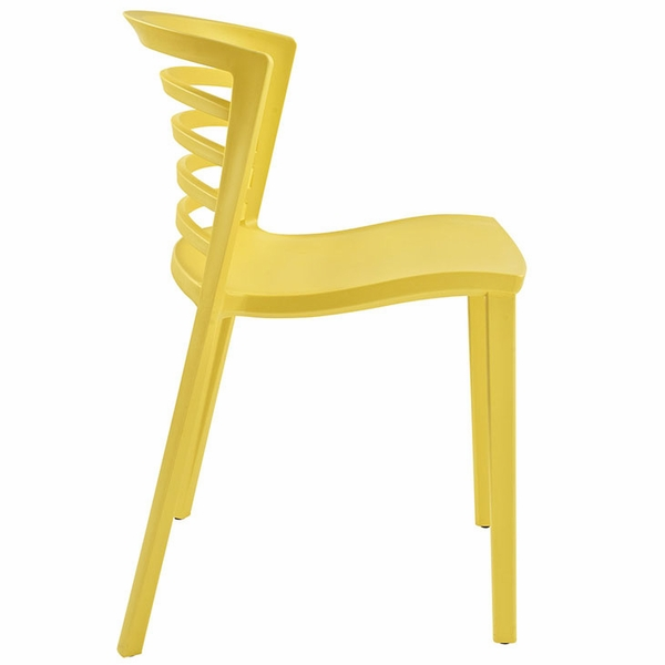 Curvy 2 Yellow Plastic Side Chairs by Modway