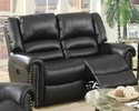 Johna Black Bonded Leather Power Recliner Loveseat by Poundex