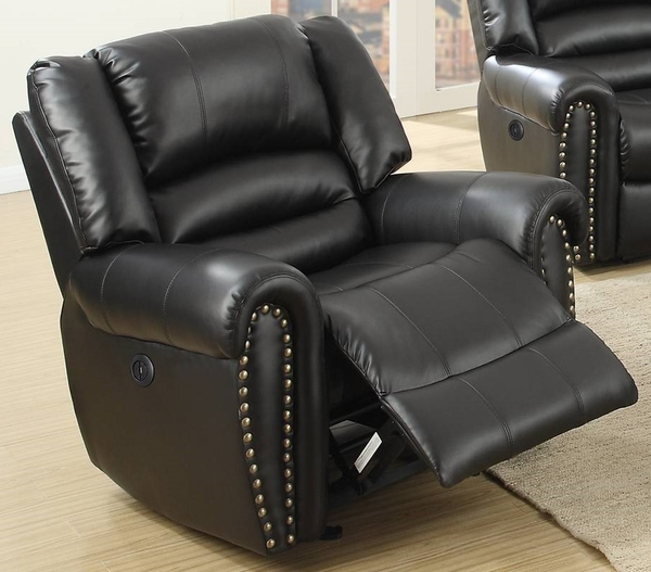 Johna Black Bonded Leather Power Recliner by Poundex