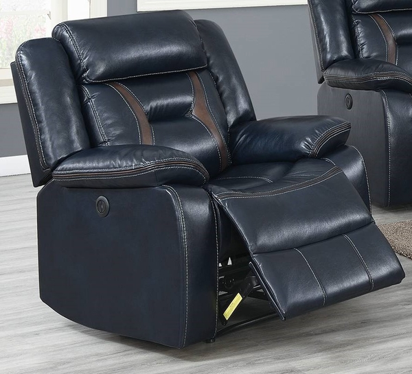 Imogene Ink Blue Gel Leatherette Power Recliner by Poundex