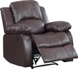Cranley Brown Faux Leather Match Manual Recliner by Homelegance