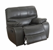 Pecos Gray Leather Gel Match Manual Glider Recliner by Homelegance