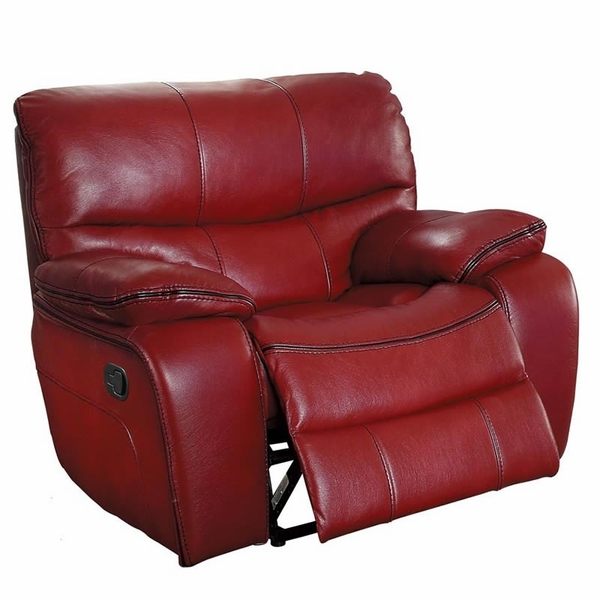 Pecos Red Leather Gel Match Manual Glider Recliner by Homelegance