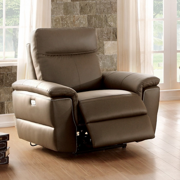 Olympia Raisin Top Grain Leather Match Power Recliner by Homelegance