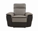 Laertes 2-Tones Gray Leather/Fabric Power Recliner by Homelegance