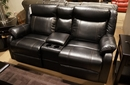 Jude Black Manual Glider Recliner Loveseat w/ Console by Homelegance