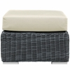 Summon Grey Rattan Ottoman with Beige Fabric Cushion by Modway
