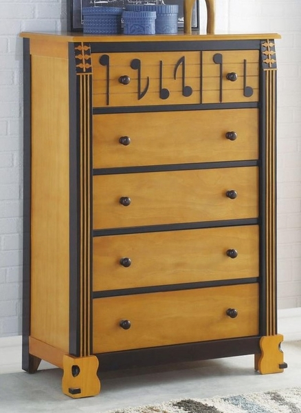 Petrus Honey Oak & Espresso Wood Chest with 5 Drawers by Acme
