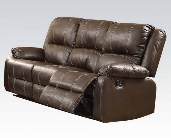 Zuriel 3-Pc Brown PU Leather Manual Recliner Sofa Set by Acme