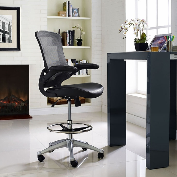 Attainment Black Drafting Chair with Vinyl Seat and Arms by Modway