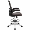 Attainment Brown Drafting Chair with Vinyl Seat and Arms by Modway