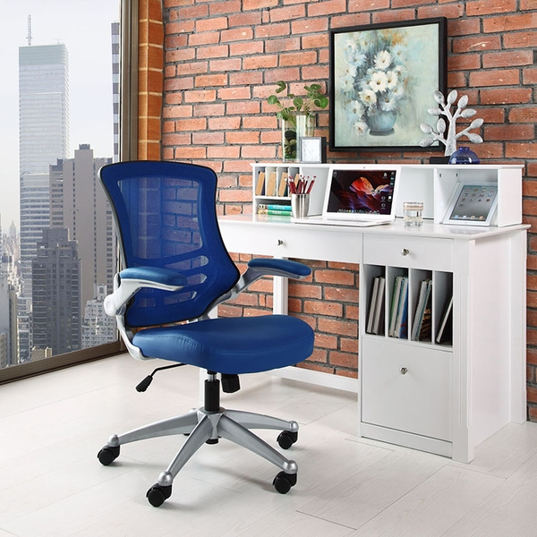 Attainment Blue Office Chair with Vinyl Seat and Arms by Modway