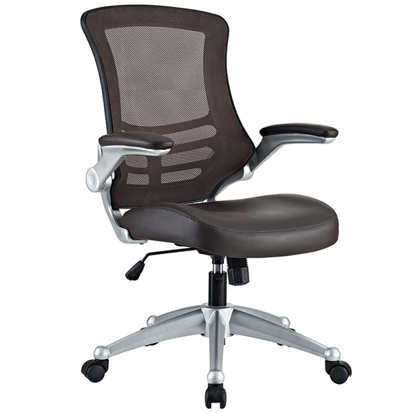 Attainment Brown Office Chair with Vinyl Seat and Arms by Modway